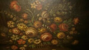 Antique signed 1920 oil on canvas painting woman still life flowers bouquet $275.00