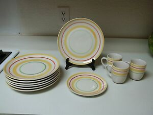 Gibson Red Yellow Green Circles Dish Set 11 Piece Set Plates amp; Cups
