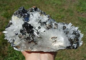 Clear Quartz Cluster from HUARON Crystal Point with Galena & Pyrite Very Large