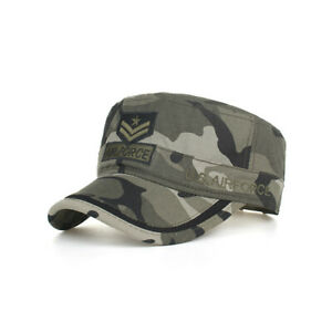 Washed Cotton Military Camouflage Caps Unique AIR Embroidery  Flat Top Cap