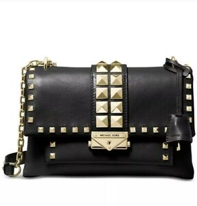 ❤️ Michael Kors Cece Studded Leather Chain BlackGold Shoulder Bag