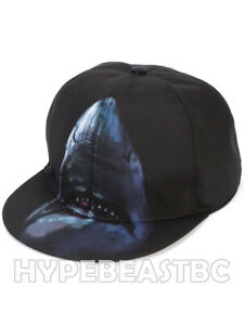 GIVENCHY Hat Shark Print Canvas Baseball Cap Mens One Size Adjustable Blue Black
