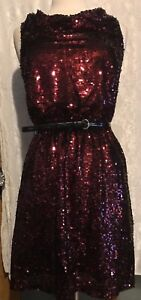 Stunning Sequins Evening Dress Party Dress Rasberry Color size S $28.99