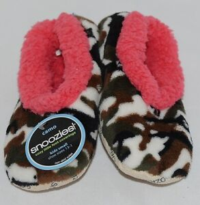 Snoozies Brand KCM005 Pink Dark Camouflage Girls House Slippers Size S