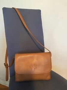 Jones New York Cross Body LOGO Shoulder Purse Brown Beige Purse Bag Tote Leather