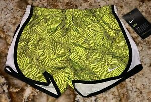 NIKE Tempo Dri Fit Printed Volt Black Whit Running Shorts NEW Youth Girls 5 6 6X