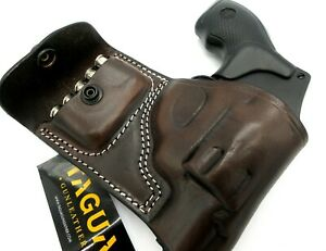 TAGUA Dark Brown Leather RH OWB Belt Holster + Ammo Pouch for S&W J-FRAME 38 357