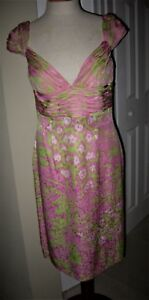 Rare! Vintage ESCADA Couture Silk Pink Green Evening Dress Capped Sleeves SZ 36