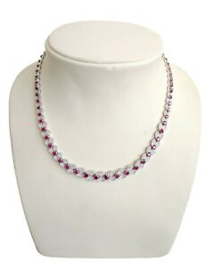 18k Gorgeous White Gold Necklace With Ruby & White Diamonds Exquisitely Designed
