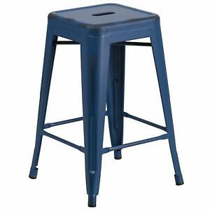 Flash Furniture High Backless Metal Indoor-Outdoor Counter Height Stool