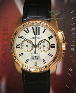 Cartier Calibre 18k Rose Gold Silver Dial 42mm Watch BoxPapers 3577 W7100044