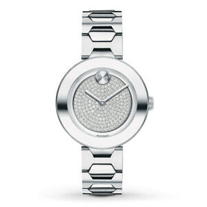 New Movado Bold Pavé Crystal Dial Steel Bracelet Women's Watch 3600567