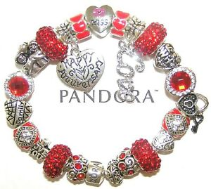 Authentic Pandora Bracelet 925 Silver With WIFE ANNIVERSARY LOVE European Charms