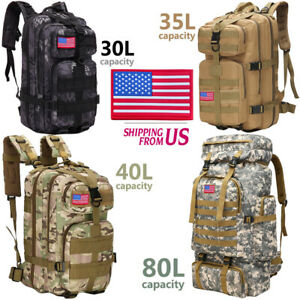 30L/35L/40L/80L Military Outdoor Tactical Shoulder Backpack Camping Hiking Trek