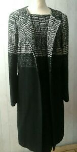 Ladies Designer ESCADA Wool Blend Overcoat & Dress Monochrome 42