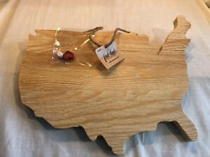 NEW Fab Lab USA Map Wood Shape Unfinished Paint Decorate Yourself