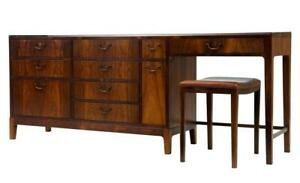 1960's DANISH DESIGN ROSEWOOD DRESSING SIDEBOARD AND STALL BY FRODE HOLM