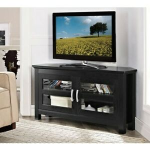 Corner TV Stand Home Home Living Room Black Entertainment Wood Furniture Console