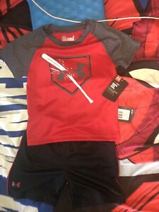 New With Tag 2 Piece Toddler Boys Under Armour Outfit Size 2T - 1 Tops & Shorts