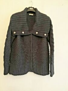Lady's M&S Per Una Grey (dark) Chunky Cable Knit Cardigan Size Large