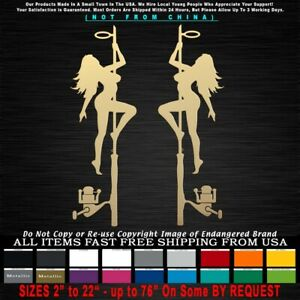 Fishing Pole Dancers Strippers mud flap Boat Bass Girls Sticker Decal
