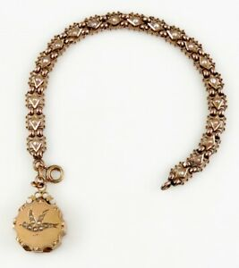 Antique c1870's Seed Pearl Dove 18K Gold Locket Fob Bracelet Truly Amazing!