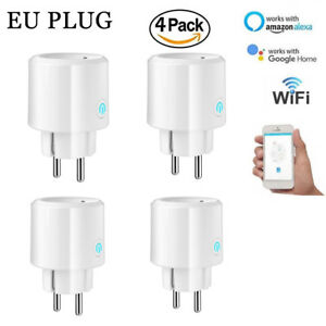 4X Mini Pack WiFi Smart Outlet Remote Control Socket Switch Alexa Google EU Plug