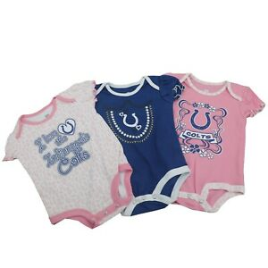 Indianapolis Colts NFL Baby Infant Girls 3 Piece Creeper Bodysuit Combo Set New