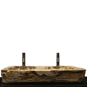 Double Basin Vessel Sink for Bathroom Counter Top In Petrified Wood DPS1