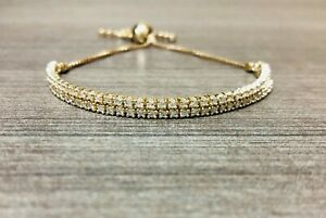 14kt Yellow Gold Tennis Bolo Bracelet 1.26ct Diamonds