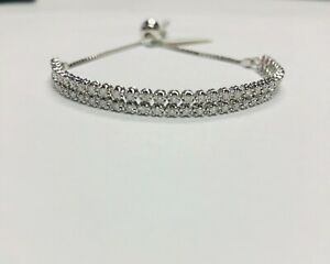 14kt White Gold .78ct Diamond Tennis Bolo Bracelet 2 Rows