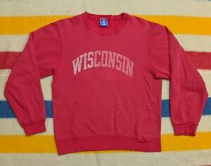 VTG 90s Champion University of Wisconsin Red Distressed Collegiate Crewneck M