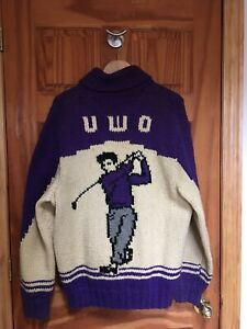 "Vintage 1940s1950s Hand Knit ""UWO"" University Of Western Ontario Golf Club"