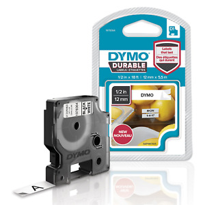 DYMO D1 Durable Labeling Tape for LabelManager Label Makers, Black Print on 1/2