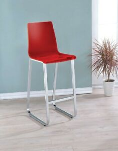 Contemporary Style Bar Chairs Furniture Chrome Finish Curved Chair