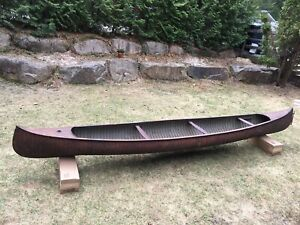 J. S. Stephenson antique canoe boat circa 1850's-First wooden board canoe in NA