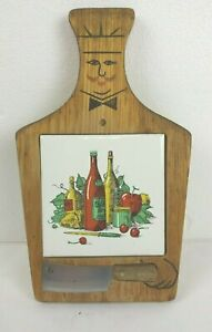 CHEESE BOARD WITH CERAMIC TILE IN CENTER AND KNIFE