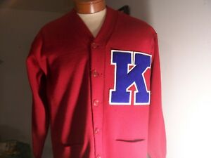 LATE 1960'S UNIVERSITY OF KANSAS JAYHAWKS LETTERMAN SWEATER SAND-KNIT SIZE 44