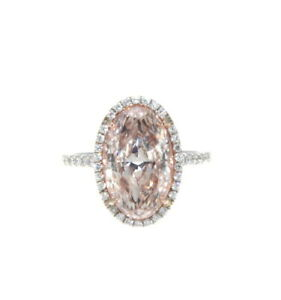 18K White Rose Gold Fancy Light Pink Oval Diamond Ring GIA 3.91 Tcw.