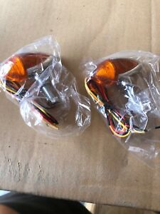 Universal Motorcycle Bullet Style Turn Signal Light Amber Lamp 12V Chrome Metal