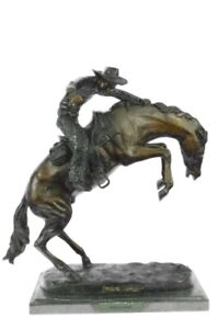 SIGNED REMINGTON FAMOUS WOOLY CHAPS BRONZE SCULPTURE COWBOY HORSE OLD WESTERN NR