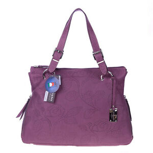 GIORDANO Italian Made Violet Flower Embossed Natural Leather Designer Tote Bag