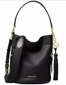 New Michael Kors Brooke Pebble Leather Bucket BlackGold Shoulder Bag