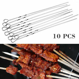 10Pcs BBQ Barbecue Stainless Steel Grilling Kabob Flat Skewers Needle Sticks Gif