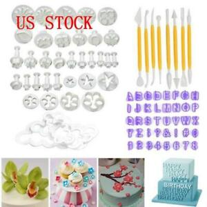 US 84Pcs/Set Fondant Cake Decor Sugarcraft Plunger Cutter Tools Mould Cookies SF