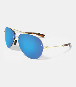 New $165 UA Under Armour Double Down Aviator Sunglasses Gold Blue Multiflection