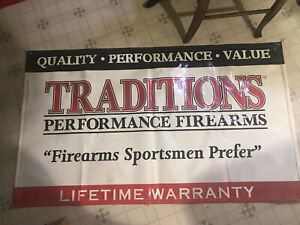 VINTAGE FIREARMS SIGN BANNER TRADITIONS PERFORMANCE FIREARMS SIGN BANNER