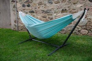 Hammock with Stand Outdoor Garden Camping Patio Steel Frame Blue Portable Bed
