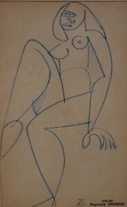 Raymond TRAMEAU 1897 1985 French artist. Naked woman in Cubist style. $420.00