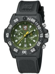 NEW LUMINOX NAVY SEAL 3500 SERIES CHRONO 45MM GREEN DIAL BLACK RUBBER 3597